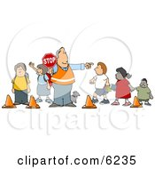 Crosswalk Crossing Guard Man With A Stop Sign Directing School Children And A Dog To Cross The Street
