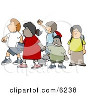 Group Of School Children And A Little Dog Crossing A Street Clipart Picture by Dennis Cox