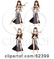 Royalty Free RF Clipart Illustration Of A Digital Collage Of A Brunette Belly Dancer In Different Poses