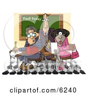 Male Teacher Standing Over Two Students In A Classroom Clipart Picture by Dennis Cox