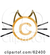 Royalty Free RF Clipart Illustration Of A Copyright Symbol Cat Face With Straight Whiskers by Melisende Vector