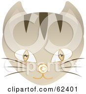 Royalty Free RF Clipart Illustration Of A Brown Eyed Cat Face With A Copyright Symbol Nose by Melisende Vector