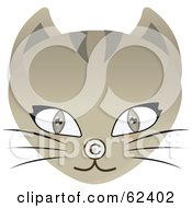 Royalty Free RF Clipart Illustration Of A Brown Cat Face With A Copyright Symbol Nose by Melisende Vector