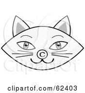 Royalty Free RF Clipart Illustration Of A Gray Cat Face With A Copyright Symbol Nose by Melisende Vector