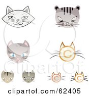 Royalty Free RF Clipart Illustration Of A Digital Collage Of Copyright Symbol Cat Faces by Melisende Vector