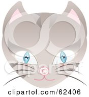 Royalty Free RF Clipart Illustration Of A Blue Eyed Cat Face With A Copyright Symbol Nose by Melisende Vector