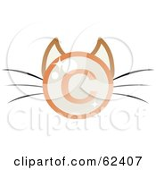 Royalty Free RF Clipart Illustration Of A Shiny Copyright Symbol Cat Face With Long Whiskers by Melisende Vector