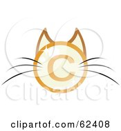 Royalty Free RF Clipart Illustration Of A Copyright Symbol Cat Face With Long Whiskers by Melisende Vector