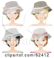 Royalty Free RF Clipart Illustration Of A Digital Collage Of Four Fashionable Young Ladies Wearing Hats