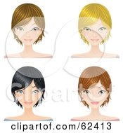 Royalty Free RF Clipart Illustration Of A Digital Collage Of Four Pretty Female Faces With Different Hair Colors