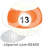 Royalty Free RF Clipart Illustration Of A Shiny Stripe Orange 13 Billiards Pool Ball by Pams Clipart