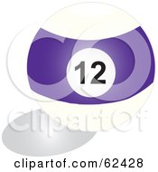 Royalty Free RF Clipart Illustration Of A Shiny Stripe Purple 12 Billiards Pool Ball by Pams Clipart