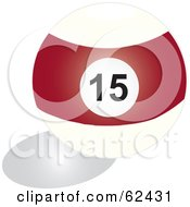 Royalty Free RF Clipart Illustration Of A Shiny Stripe Redf 15 Billiards Pool Ball by Pams Clipart