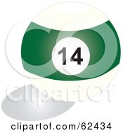 Royalty Free RF Clipart Illustration Of A Shiny Stripe Green 14 Billiards Pool Ball by Pams Clipart