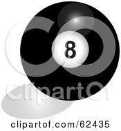 Royalty Free RF Clipart Illustration Of A Shiny Solid Black 8 Billiards Pool Ball by Pams Clipart