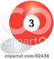 Royalty Free RF Clipart Illustration Of A Shiny Solid Red 3 Billiards Pool Ball by Pams Clipart