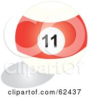 Royalty Free RF Clipart Illustration Of A Shiny Stripe Red 11 Billiards Pool Ball by Pams Clipart