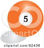 Royalty Free RF Clipart Illustration Of A Shiny Solid Orange 5 Billiards Pool Ball by Pams Clipart