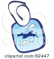 Royalty Free RF Clipart Illustration Of A Blue Baby Bib With An Airplane