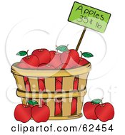 Royalty Free RF Clipart Illustration Of A Wood Bushel Of Red Organic Apples And A Price Tag