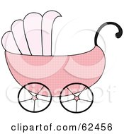 Royalty Free RF Clipart Illustration Of A Pink Girl Baby Carriage