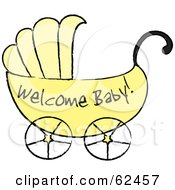 Yellow Welcome Baby Carriage