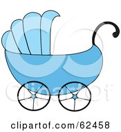 Royalty Free RF Clipart Illustration Of A Blue Boy Baby Carriage