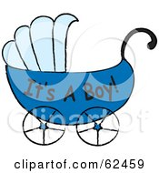 Blue Its A Boy Baby Carriage