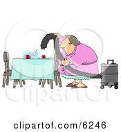 Lazy House Wife Using A Vacuum To Suck Everything Off The Dinner Table So She Doesnt Have To Clean Clipart Picture