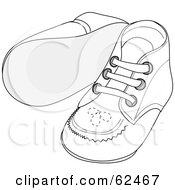 Royalty Free RF Clipart Illustration Of A Pair Of White Baby Shoes With Stitching Patterns by Pams Clipart