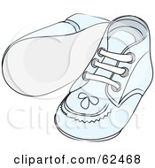 Royalty Free RF Clipart Illustration Of A Pair Of Blue Baby Shoes With Stitching Patterns by Pams Clipart