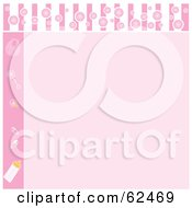 Royalty Free RF Clipart Illustration Of A Pink Baby Shower Background With Baby Items And Copyspace by Pams Clipart