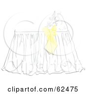 Royalty Free RF Clipart Illustration Of A Yellow Bow On A Baby Bassinet by Pams Clipart