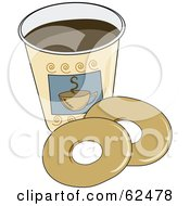Royalty Free RF Clipart Illustration Of Two Plain Donuts By A Cup Of Coffee