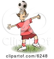 Girl Balancing A Soccer Ball On Top Of Her Head Clipart Picture