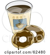 Royalty Free RF Clipart Illustration Of Two Chocolate Donuts By A Cup Of Coffee
