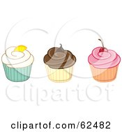 Royalty Free RF Clipart Illustration Of A Row Of Vanilla Chocolate And Strawberry Cupcakes by Pams Clipart