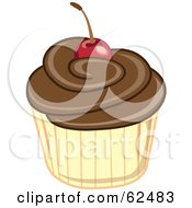 Royalty Free RF Clipart Illustration Of A Cherry Topped Cupcake Version 3 by Pams Clipart