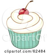Royalty Free RF Clipart Illustration Of A Cherry Topped Cupcake Version 4