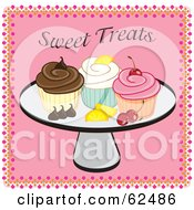 Royalty Free RF Clipart Illustration Of A Platter Of Cupcakes Fruit And Chocolate by Pams Clipart