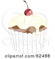 Royalty Free RF Clipart Illustration Of A Cherry Topped Cupcake Version 1 by Pams Clipart