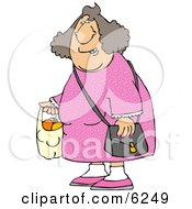 Woman Carrying A Plastic Bag Full Of Fruit Clipart Picture