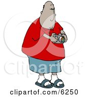 Man Taking A Photo With A Digital Camera Clipart Picture by djart
