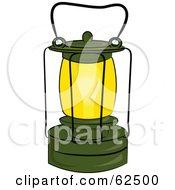 Royalty Free RF Clipart Illustration Of A Glowing Green Kerosene Lantern