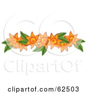 Royalty Free RF Clipart Illustration Of A Beautiful Orange Flower And Green Leaf Border Element