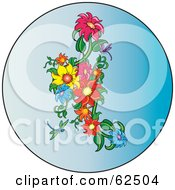 Colorful Daisies In A Blue Circle