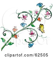 Royalty Free RF Clipart Illustration Of A Butterfly Approaching A Flowering Vine by Pams Clipart