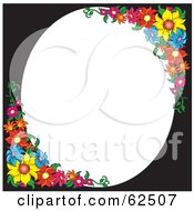 White Oval Space Bordered With Colorful Flowers And Black
