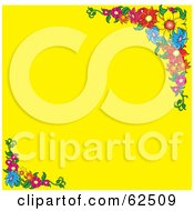 Yellow Background Bordered In Colorful Flowers