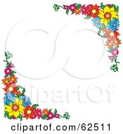 White Background Bordered In Colorful Flowers Version 3
